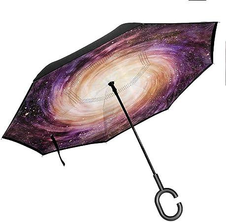 protecci/ón UV a Prueba de Viento Paraguas Recto Grande Elxf Paraguas invertido Galaxy Citas sobre Amor Paraguas inverso de Doble Capa
