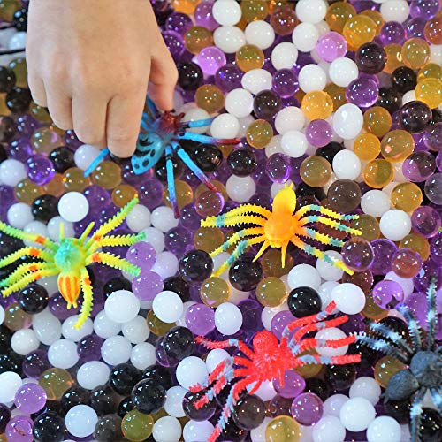 Halloween Sensory Games (Dew Drops Water Beads Insect Spider Party Activity for Kids Includes 12 Spider Insect Toys and Purple White Black and Orange Color Aqua)