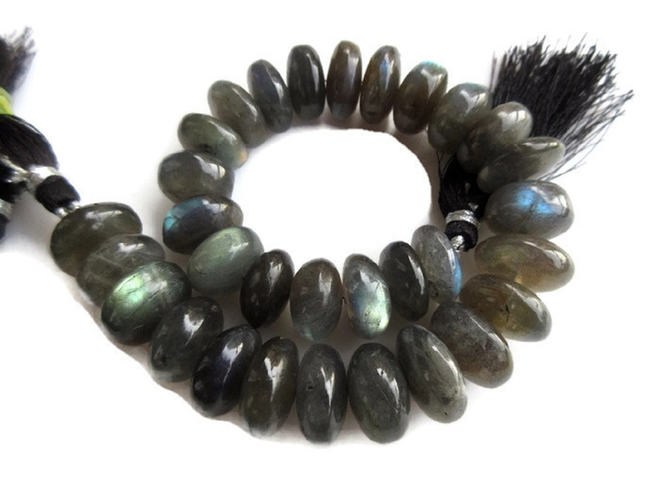 AAA Natural Labradorite Smooth Rondelle Beads, 10mm to 12mm Beads, Labradorite Jewelry, GDS959 (9 Inch)