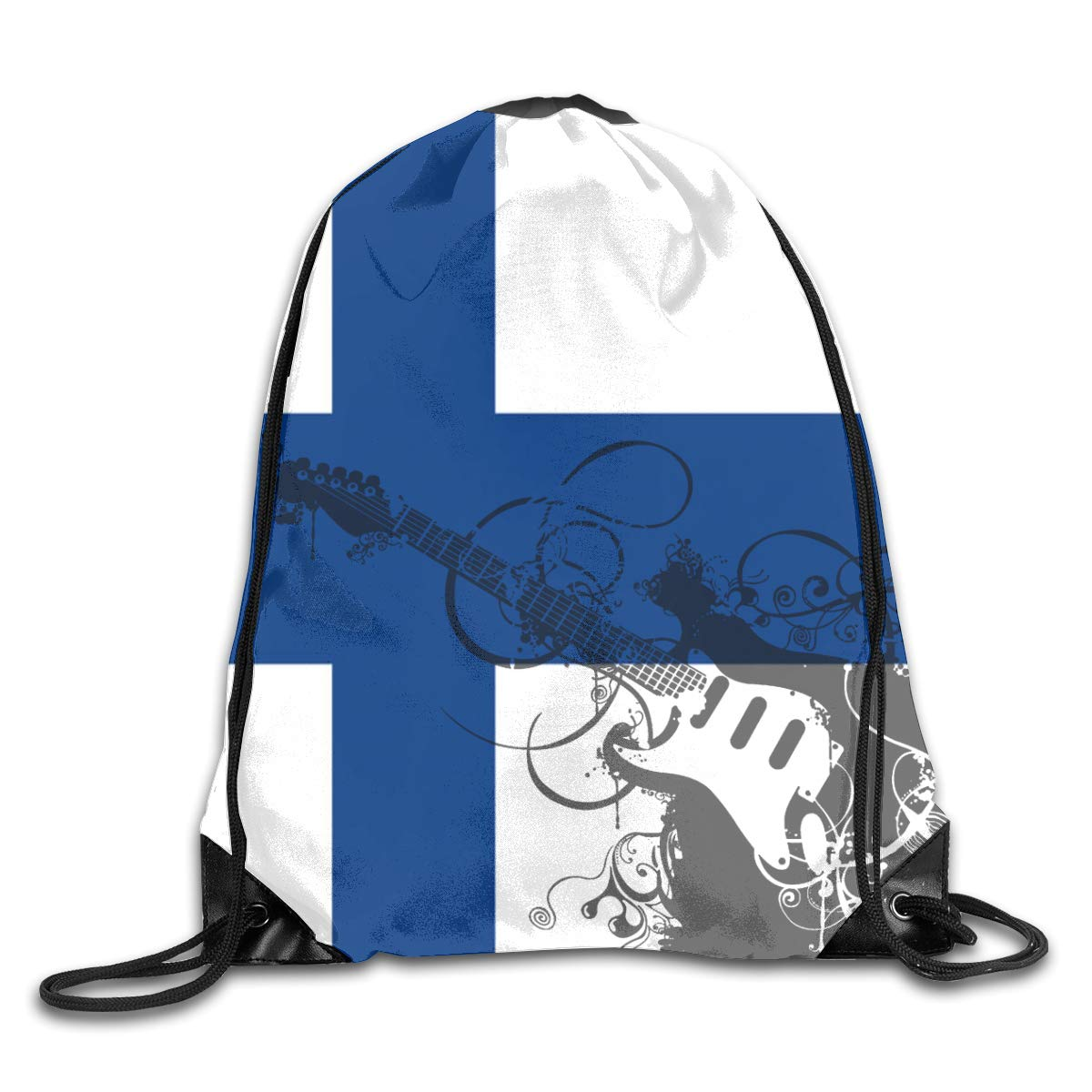 Finnish Flag Beam Mouth Backpack Pull Rope Shoulder Bag Outdoor Sports Leisure Bag