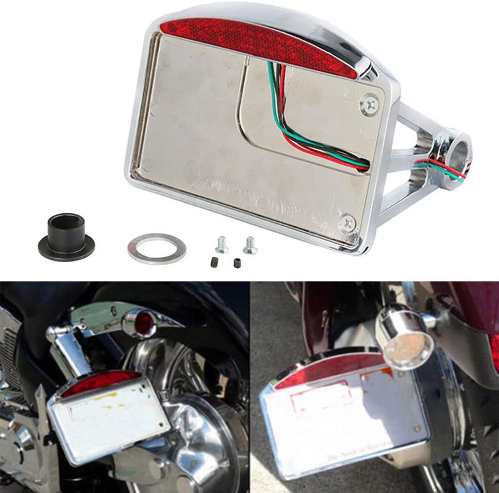 Color : Black Motorcycle License plate frame Motorcycle Cafe Racer Telescopic Folding LED Light Side Mount License Plate Fit For Harley Sportster Chopper Bobber