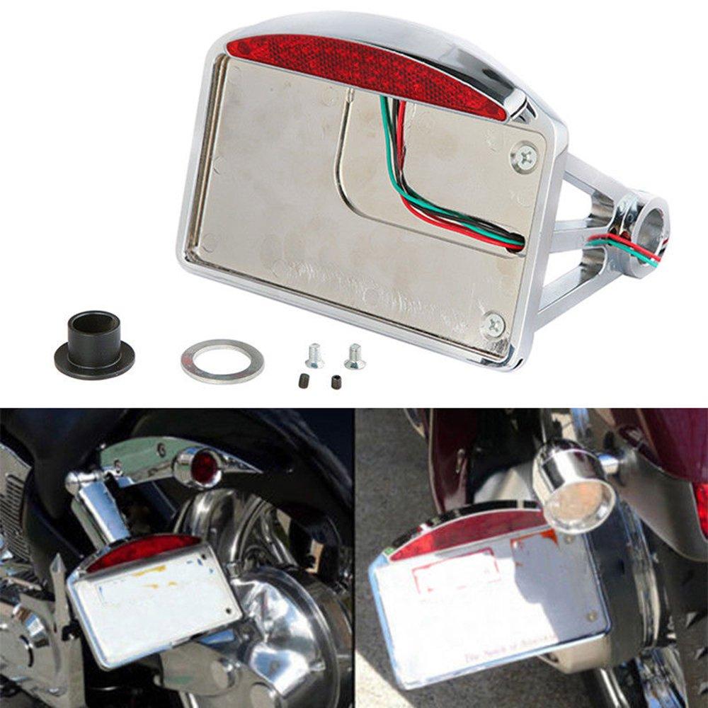 Motorcycle Side Mount License Plate Bracket Frame Tail Light For Bobber Chopper