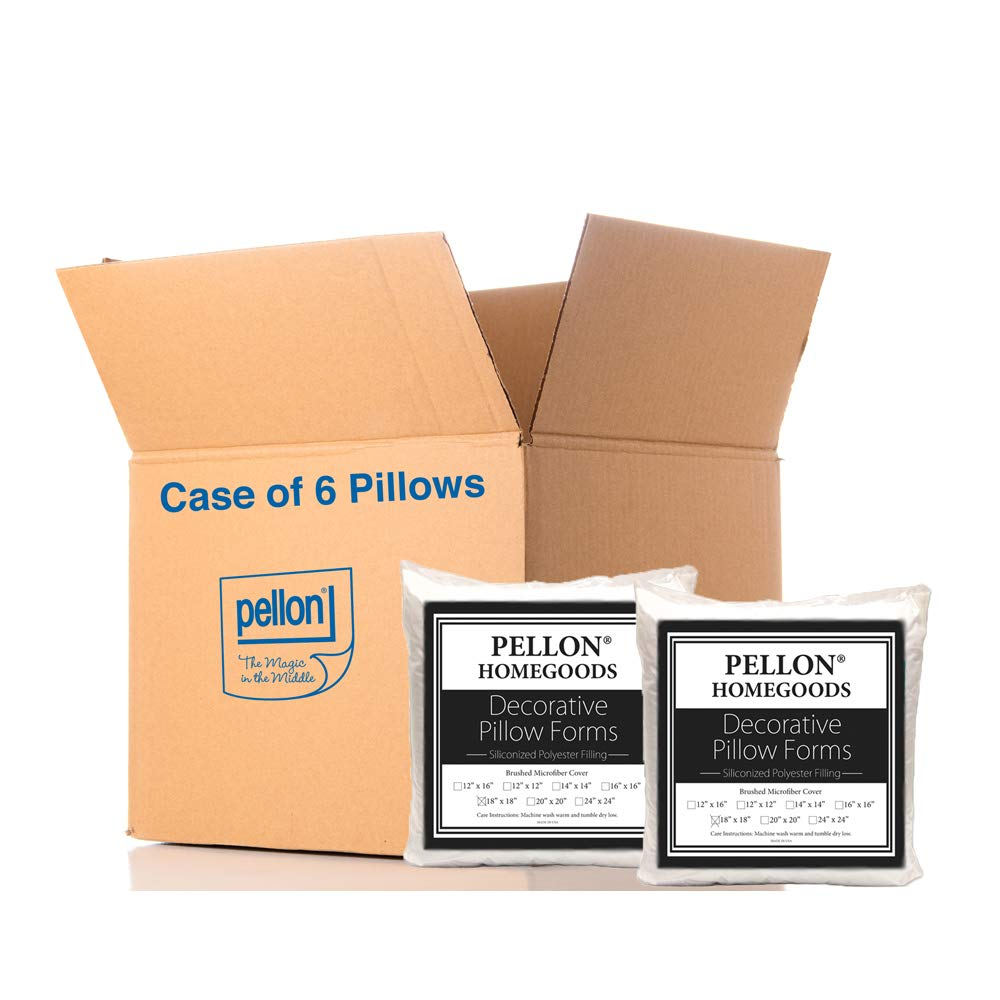 Pellon PPI- Decorative Microfiber Shell Pillow Form 18in x 18in - Case of 6 Pillows by Pellon