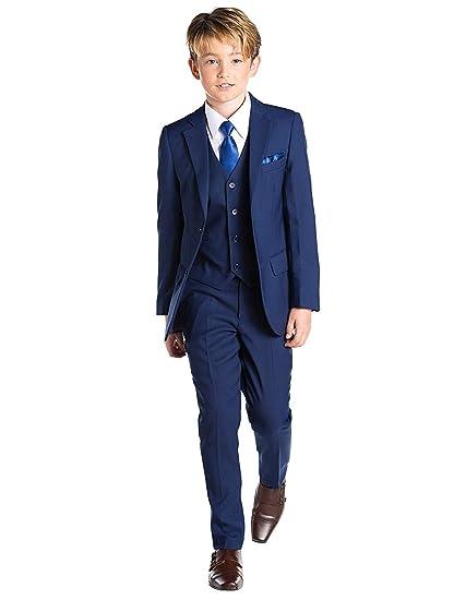 Amazon.com: Boys Navy Blue Formal Suits 5 Piece Slim Fit ...