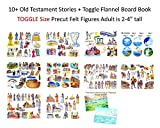 10 Old Testament Bible Stories Felt Figures + Flannel Board Book- Precut Toggle Size Noah David Daniel Job Jonah Joseph Abraham Ruth Esther Moses Creation