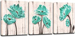 KLVOS 3 Piece Blue Flower Canvas Prints Wall Art Teal Poppy Floral with Vintage Wooden Grain Background Picture Painting for Bedroom Bathroom Kitchen Wall Decor Gallery Wrapped Modern Home Decor Easy Hanging 12x16inchx3 PCS