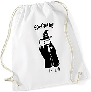 HippoWarehouse Slotherin! Funny Wizard Sloth Drawstring Cotton School Gym Kid Bag Sack 37cm x 46cm, 12 litres