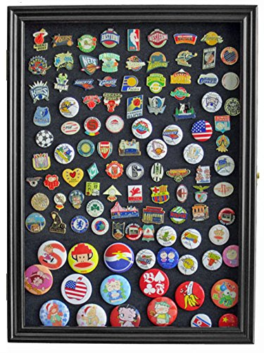 Army Brass Case - Military Medals, Pins, Patches, Insignia, Ribbons Display Case Wall Frame Cabinet (Black Finish)