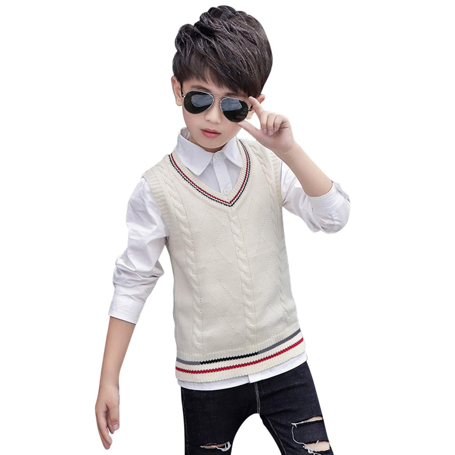 De feuilles Kids Boys Knit Vest Sleeveless Knitwear School Tank Top Sweater