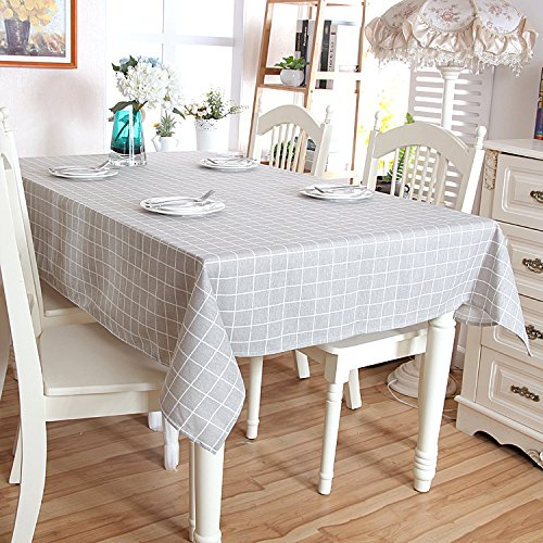 UNIQUE HM&LN Tablecloth Vintage Tabletop Cover Decoration Dustproof Nice for Dinning Kitchen Grey Grid (5578, Grey)