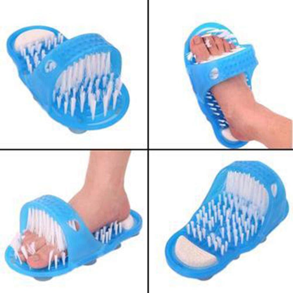 Gorgebuy Ducha del baño sin pies de flexión Cepillo de Limpieza de pie de cerdas Zapatillas Lavadora de baño Scrubber Masajeador Stick en el Piso con lechón 无