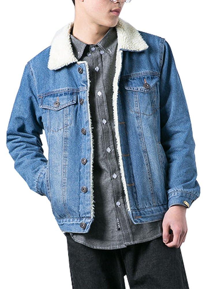 LifeHe Men's Winter Fleece Lined Fur Collar Denim Jacket Coats 2018