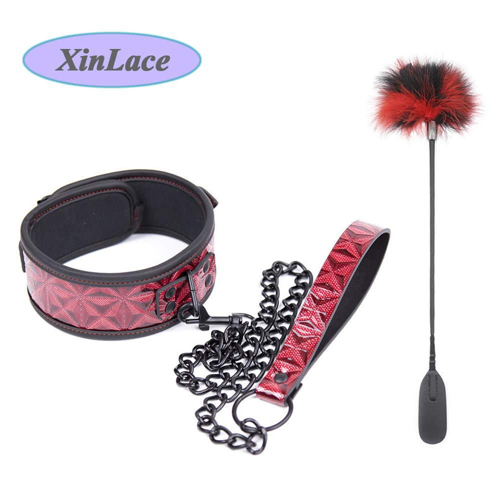 1pcs Drilled red iron chain traction collar collar neck cover +1pcs black red hair double feather by XinLace-US