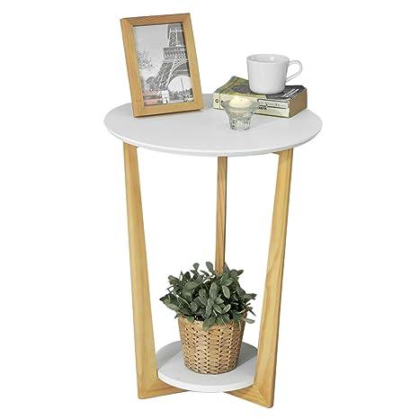 SoBuy Mesa Auxiliar con 2 Estantes, Mesita de Noche,Mesa de Café,Consola,H60 cm, FBT52-WN,ES