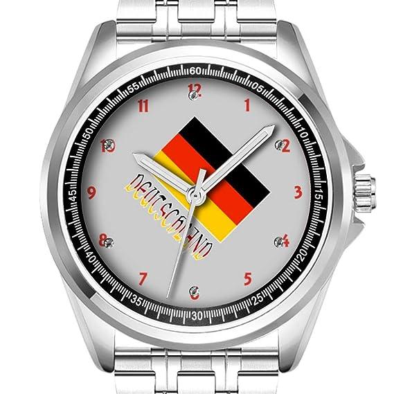 Reloj de Pulsera Personalizado para Hombre, a la Moda, Resistente al Agua, Diamante_579, Bandera Alemana y Deutschland: Amazon.es: Relojes