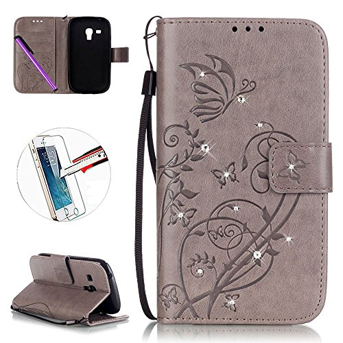 S3 Mini Case, ISADENSER Fashion PU Leather [Folio Flip Wallet] Case Cover with Built-in Credit Card for Samsung Galaxy S3 Mini + 1pcs Tempered Glass Screen + 1pcs Stylus Pen (Diamonds Gray)