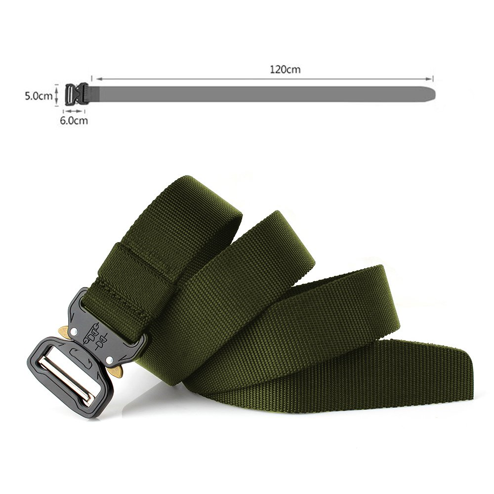MARCHONE Mens Tactical Hunting Belts for Training, Hunting Safety, Casual Wearing Webbing Military Nylon Belt with Adjustable Metal Buckle by MARCHONE (Image #4)