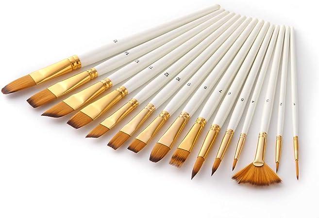 PXNH Pincel Set Mango de madera Nylon Pinceles para el cabello con estuche de almacenamiento Paleta Cuchillo Esponja Art Paint Brush: Amazon.es: Hogar
