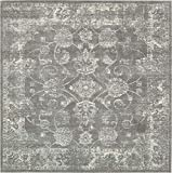 Unique Loom Tradition Collection Botanical Classic Dark Gray Square Rug (8′ x 8′) For Sale