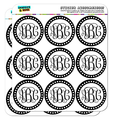 Graphics and More Personalized Custom Monogram Fancy font Scalloped Outline Planner Calendar Scrapbooking Crafting Stickers - 18 2