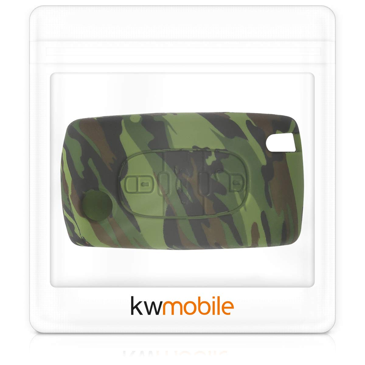 Silicone Protective Key Fob Cover Camouflage Black//Light Green//Dark Green kwmobile Car Key Cover Compatible with Kia 3-4 Button Car Key