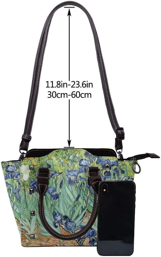 GHUJAOOHIJIO Ideal Mothers Gift-Beautiful Irises Womens Rivet PU Leather Tote Bag Shoulder Bag Purse