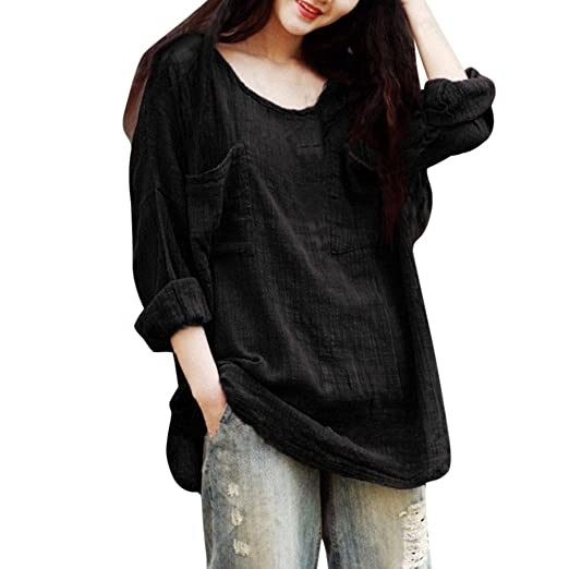 aa318c55778d Wobuoke Womens Cotton Linen Thin Section Loose Long Sleeved Pockets Blouse  T-Shirt Pullover Tunics