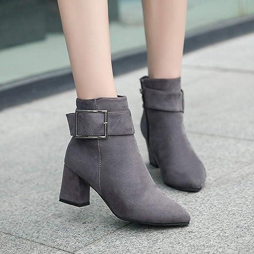 ❤ Botas de Hebilla de Invierno para Mujer, Zapatos de Mujer Botas de Gamuza para Mujer Botas de tacón con Hebilla de tacón Alto Zapatos Casuales Botas ...