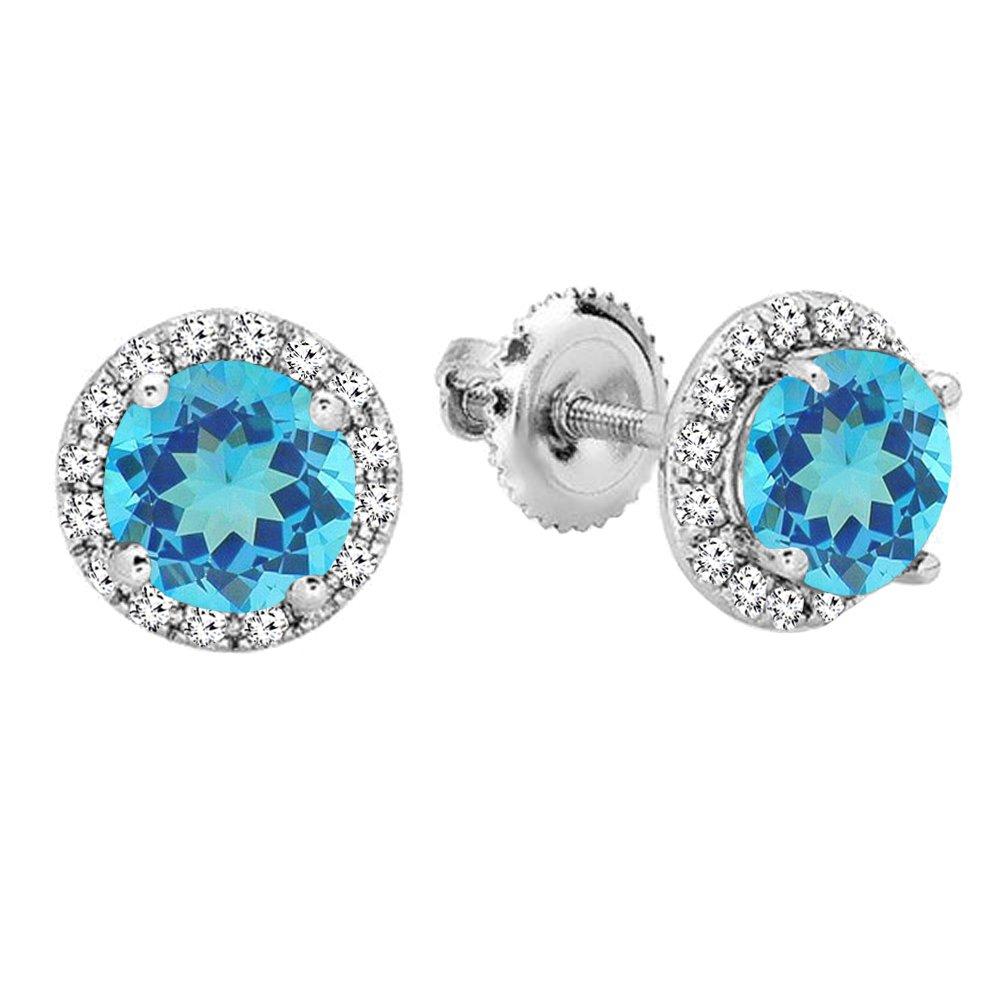 14K White Gold Round Blue Topaz & White Diamond Ladies Halo Style Stud Earrings