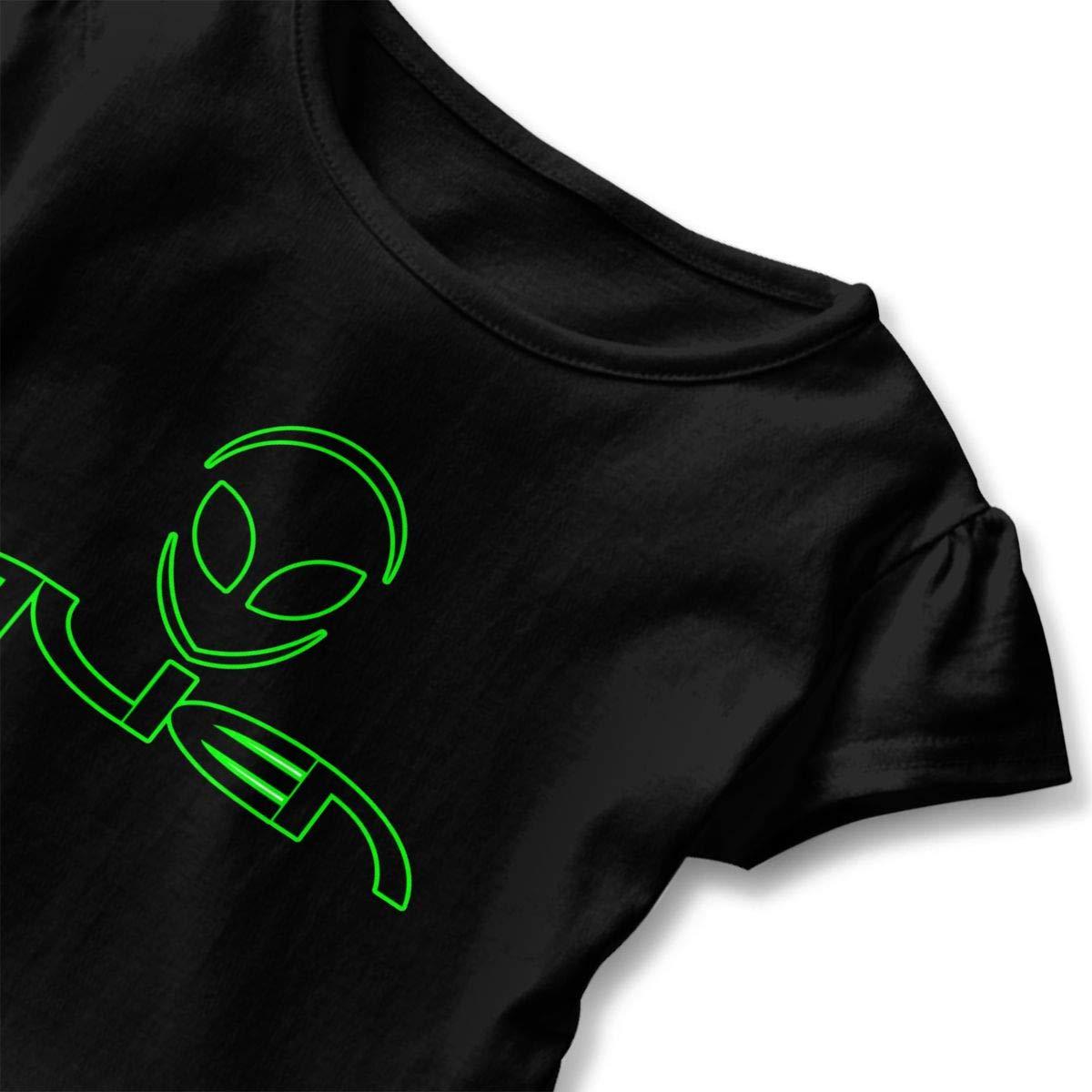 JVNSS Alien-Logo Shirt Design Infant Girl Flounced T Shirts Graphic T-Shirt for 2-6T Baby Girls