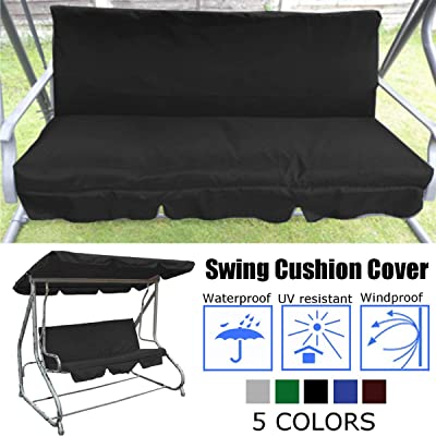 dDanke Black Patio Swing Canopy Cover Porch Swings Replacement Cover - Waterproof Sunscreen Dustproof (Swing Cushion Cover): Home & Kitchen