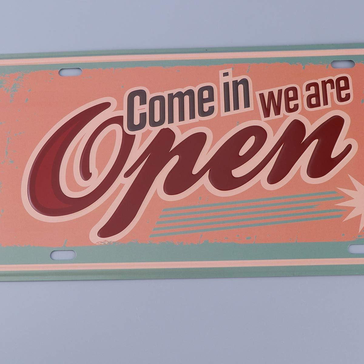 Vosarea Plaque M/étal Vintage Bar Peinture Signes R/étro Rustique D/écoration L/égende pour Maison Bar Caf/é Pub Come in we are Open