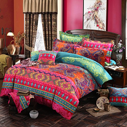 Boho Bedding Set Queen Size Bohemian Zipper Closure Duvet Cover Sets With Flat Sheet 4-Piece Pure Thick Sanded Cotton Excellent Feeling Winter Heavyduty Soft Comfortable Bedclothes