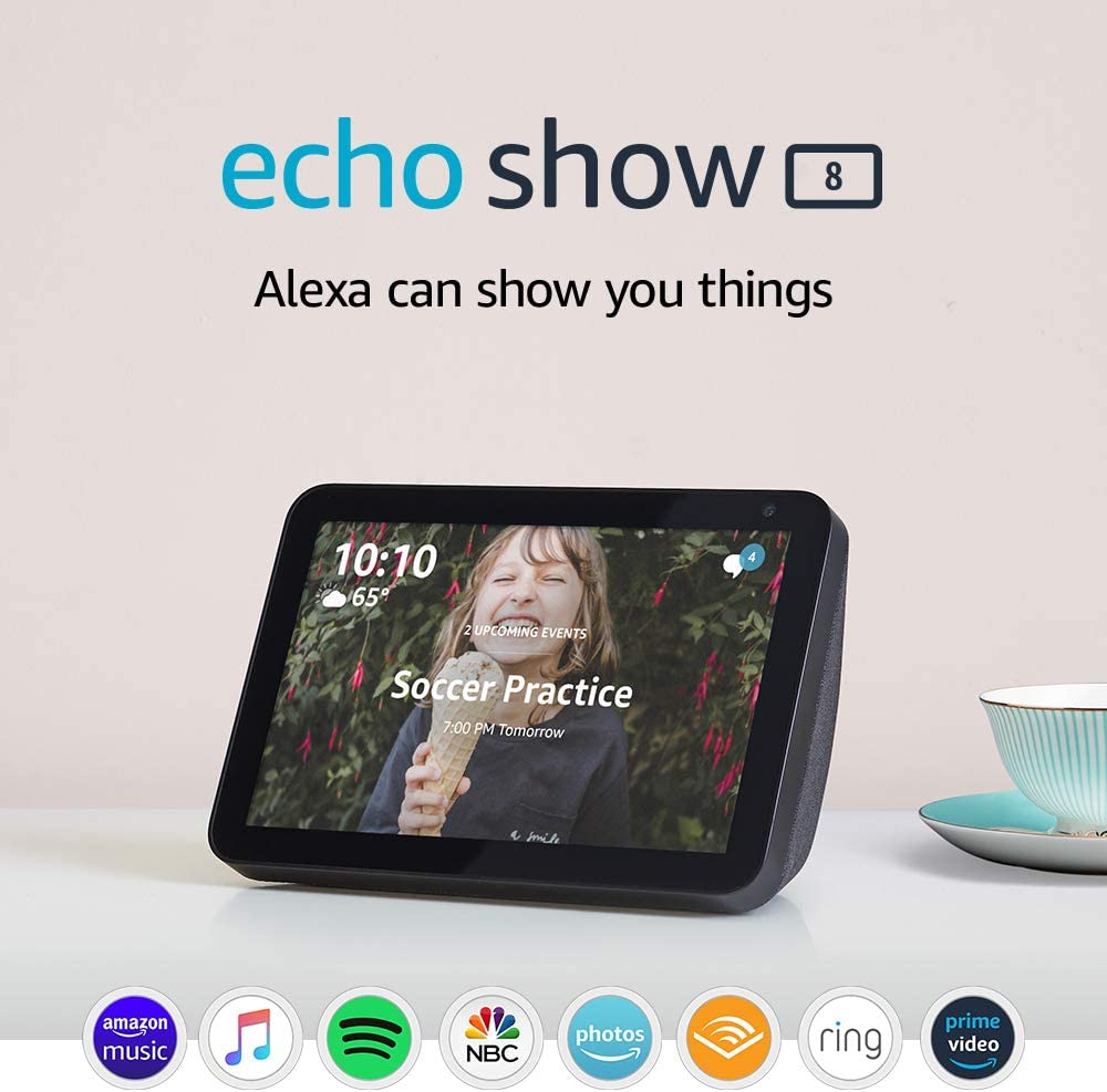 Echo Show 8 - stay connected and in touch with Alexa- Charcoal