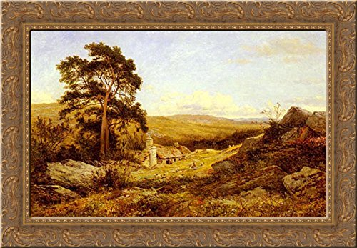 (A Welsh Sheep Farm 24x18 Gold Ornate Wood Framed Canvas Art by Leader, Benjamin Williams)