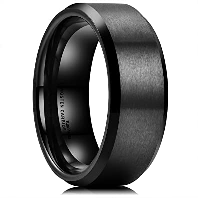 king will basic men wedding black tungsten ring 8mm matte finish