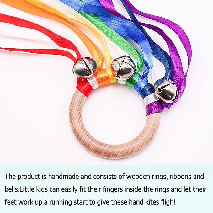 Baby Sensory Toy Wooden Toddler Toys Sensory Ribbon Toy Hand Kite Rainbow Hand Kite Waldorf Toy FNT Montessori Toy Wooden Baby Toys