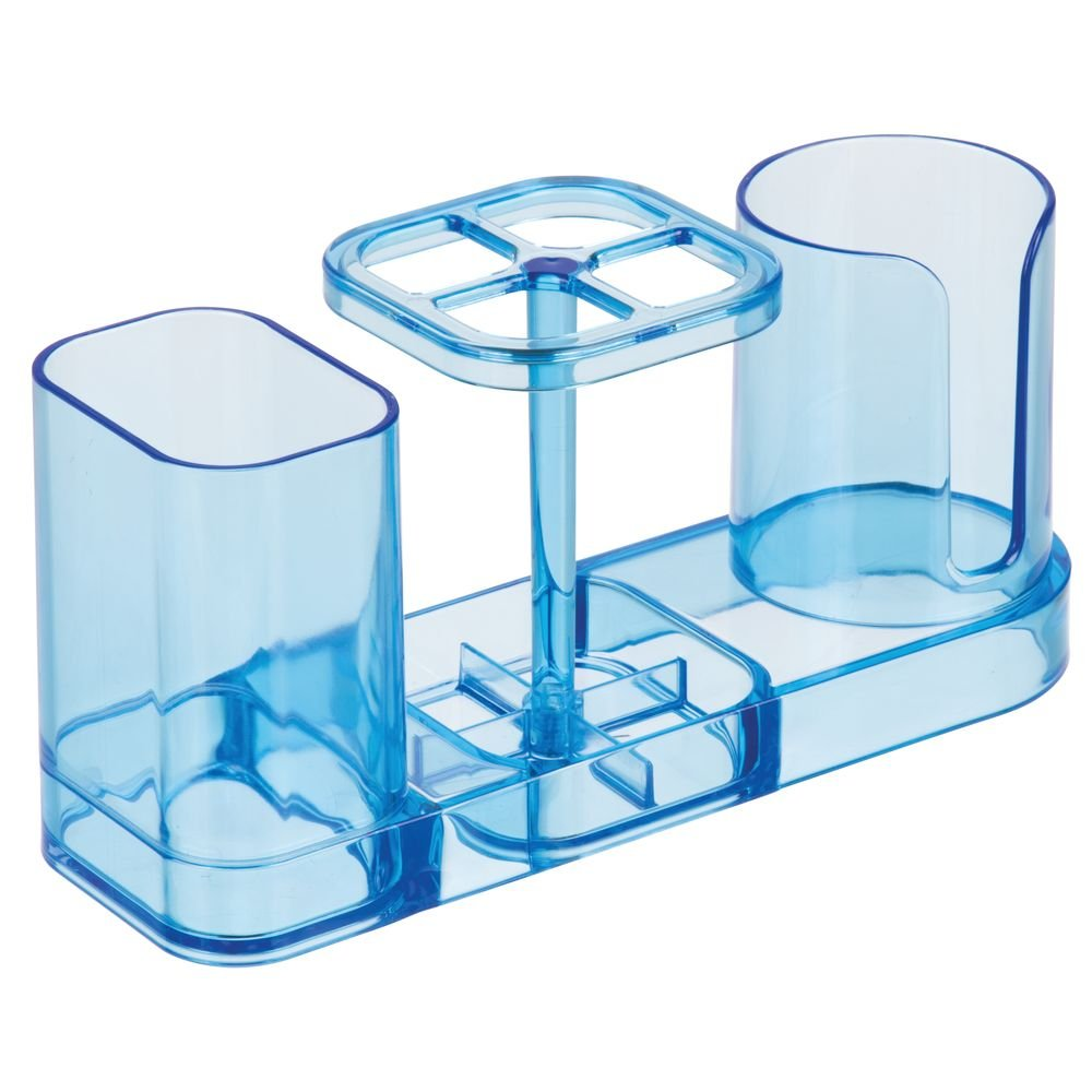 InterDesign Med+ Dental Center Bathroom Toothbrush and Toothpaste Stand/Holder Organizer with Disposable Cups – Ocean Blue 43412