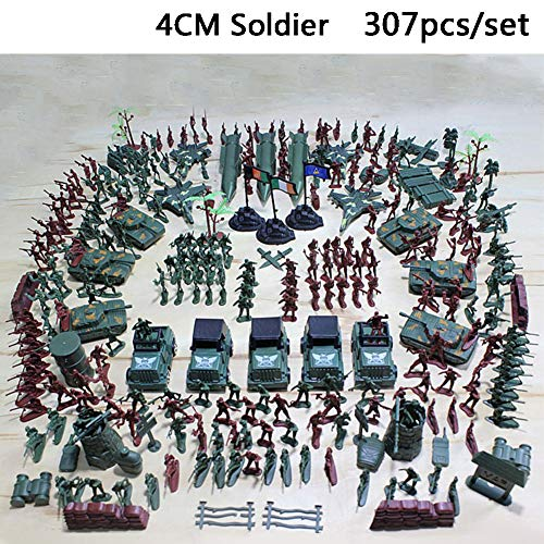 Ocamo 307pcs/lot Military Plastic Soldier Model Toy Army Men Figures Accessories Kit Decor Play Set for Hallows All Saints' Day -