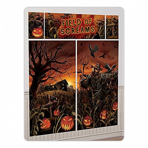 Field of Screams Halloween Party Spooky Pumpkin Patch Scene Setter Decorating Kit, Vinyl, Pack of (Spooky Halloween Scene)