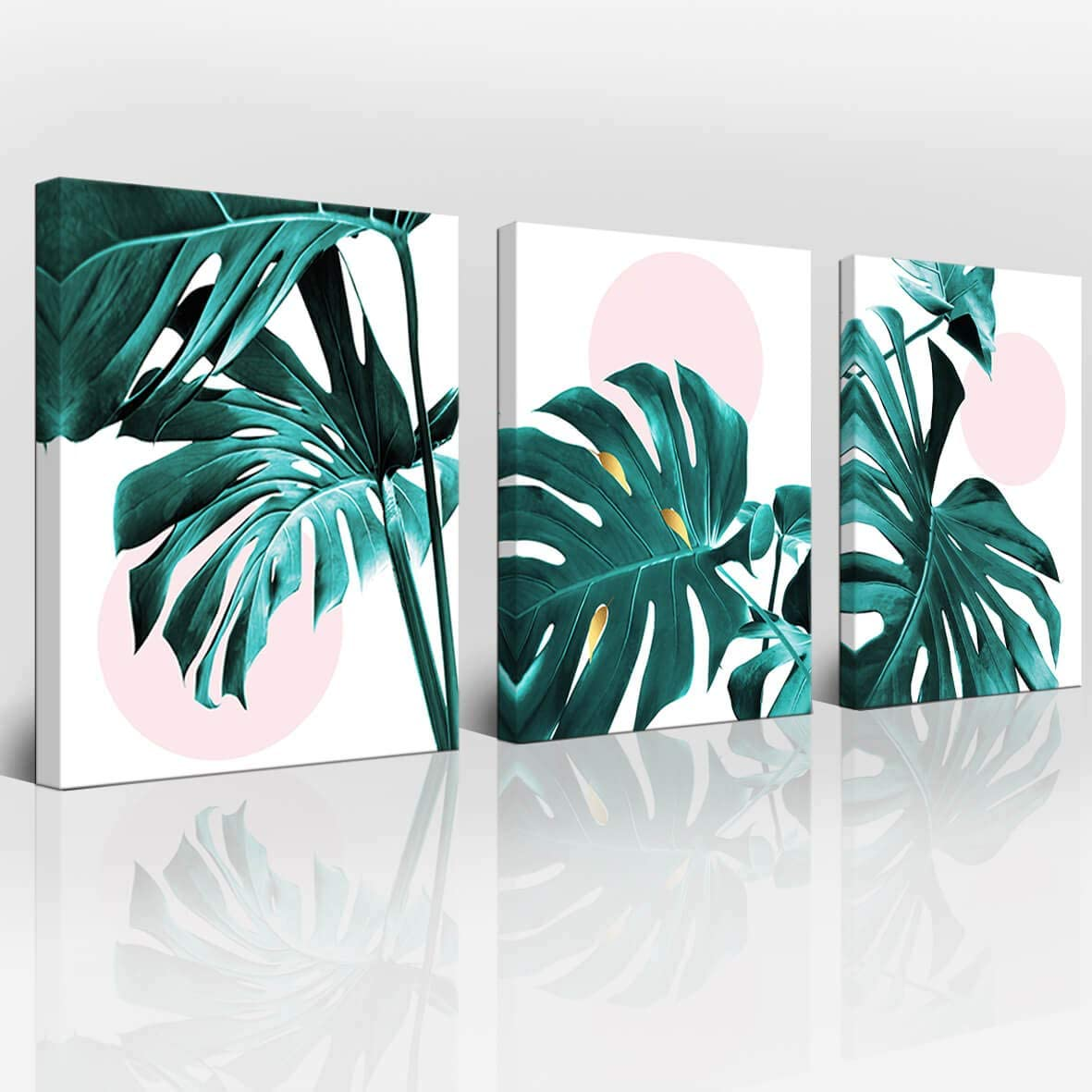 Amazon Com Wall Decoration Wall Art Bathroom Wall Decoration Bedroom Wall Art Small Fresh Leaves Plant Print Green Wall Art Canvas Bathroom Accessories Frame Wall Art Plant Wall Decoration 3 Panels Home Art