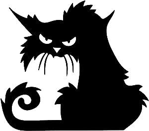 """Vinyl Wall Art Decal - Angry Black Cat - 15"""" x 17"""" - Spooky Halloween Season Decoration Sticker - Trendy Kids Teens Adults Indoor Outdoor Wall Door Window Living Room Office Decor (15"""" x 17"""")"""