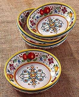 Set of 4 Pasta Bowl Set  sc 1 st  Amazon.com & Amazon.com: Toscano Rosso Hand Painted Italian Ceramic Pasta Bowl ...