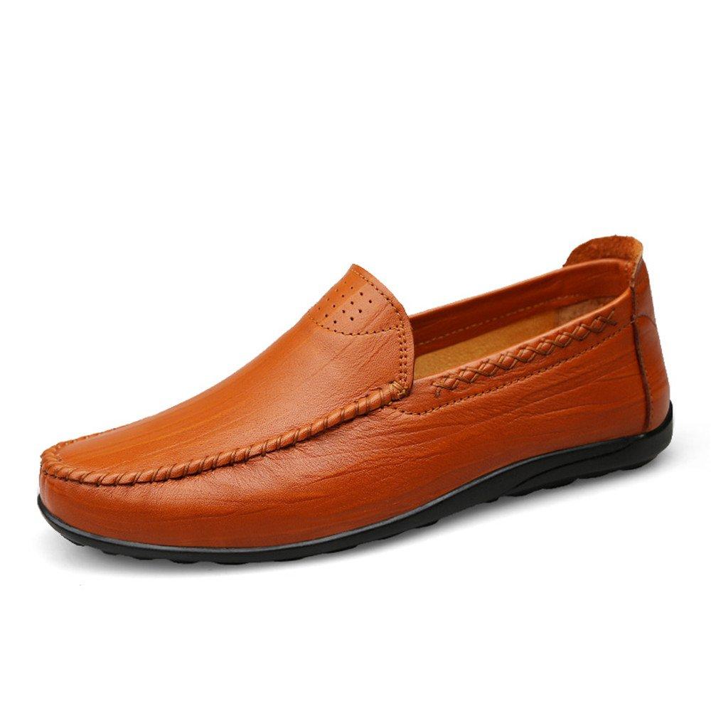 Sunny&Baby Mocasín de conducción de los Hombres Ocasionales y refrescantes Zapatos de Cuero Genuino con Suelas Blandas no Son Mocasines de Barco resbaladizo Antideslizante 44 EU|Reddish Brown