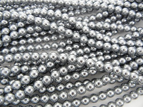 (Czech Round Glass Imitation Pearls, 150pcs of 2mm Silver Grey Pearl)