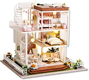 Spilay Dollhouse DIY Miniature Wooden Furniture Kit,Mini Handmade Big Castle Model Plus with LED & Music Box ,1:24 Scale Creative Doll House Toys for Adult Gift