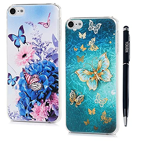 iPod Touch 6 Case, iPod Touch 5 Case, YOKIRIN [2 Pack] Shockproof Slim Anti-Scratch Protective Kit with 3D Gold Butterfly Purple Flower Flexible Hard PC Non-slip Grip Protection (Sparkly Girls Ipod 4 Cases)