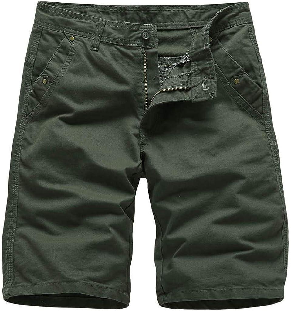 Palarn Sports Pants Casual Cargo Shorts Mens Summer Outdoors Casual Loose Pure Color Cotton Overalls Beach Shorts Pants