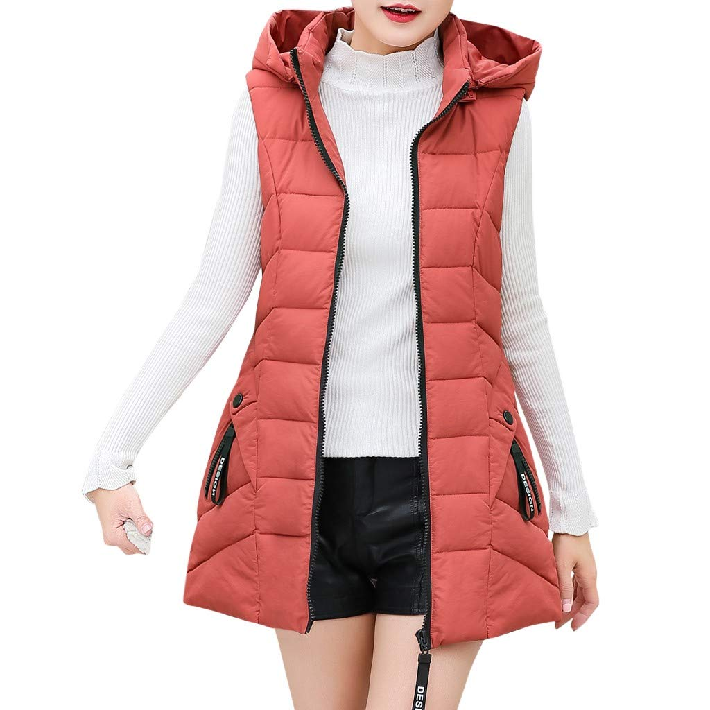 Gergeos Women's Long Puffer Vest Plus Size Lightweight Sleeveless Winter Hooded Outerwear with Pockets(Watermelon Red,XXXL) by Gergeos
