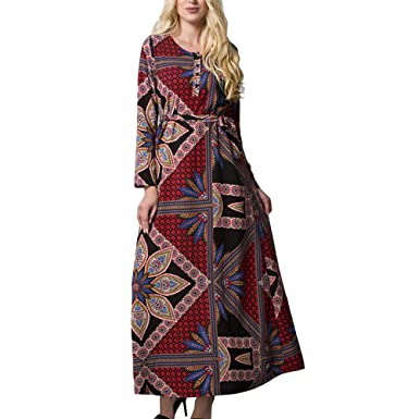 91ab958c95 LUOEM New Arabic Style Chiffon Dress Dubai Kaftan Muslim Gown with Waist  Belt Middle Eastern Maxi Robe for Women Girls - Size 6XL  Amazon.co.uk   Clothing
